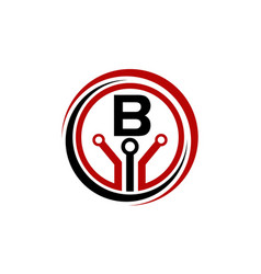 digital world and electrical connections initial b vector image