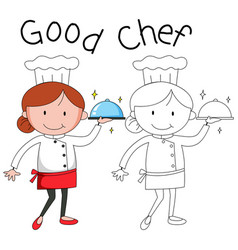 Doodle female chef character vector