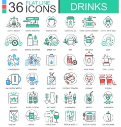 drinks flat line outline icons for apps vector image