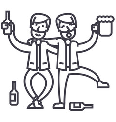 drunk peopledrunk partytwo men drinking vector image