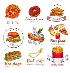 Fast Food Badges Set vector