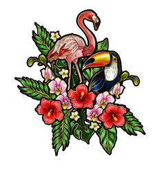 Flamingo embroidery patches with tropical flowers vector