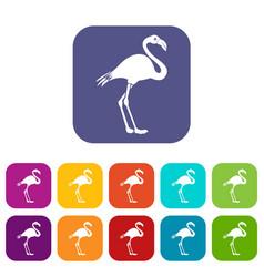 flamingo icons set vector image vector image