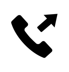 Flat black call button icon vector