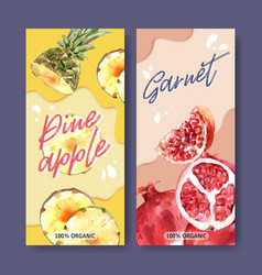 Flyer watercolor design with fruits theme vector