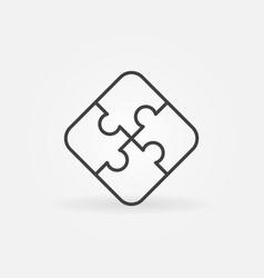 Four piece puzzle linear concept icon vector