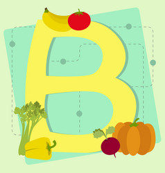 From stylized alphabet with fruits and vegetables vector