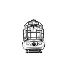 front view of train hand drawn outline doodle icon vector image