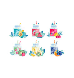 fruit smoothie drinks set nutritious organic vector image