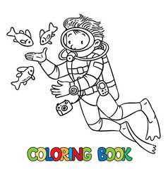 funny oceanographer or diver coloring book vector image