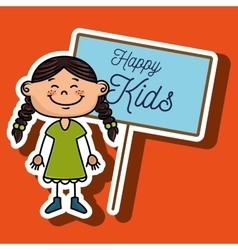 girl kids happy poster vector image