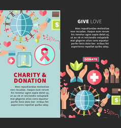 Give love charity and donation promotional vector
