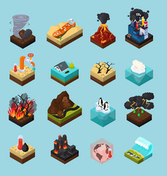 Global warming orthogonal isometric icons set vector