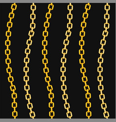 golden chains fashion seamless pattern on black vector image