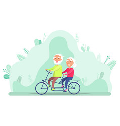 Grandparents on bicycle riding senior vector