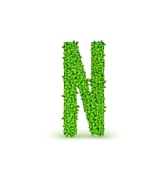 Green Leaves font N vector image