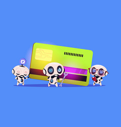 Group of robots standing over credit card robotic vector