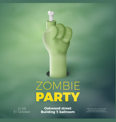 Halloween banner zombie invitation concept vector
