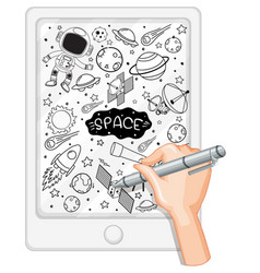 Hand drawing space element in doodle or sketch vector