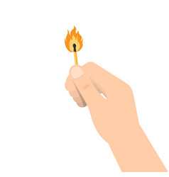 Hand holds a burning match stick vector