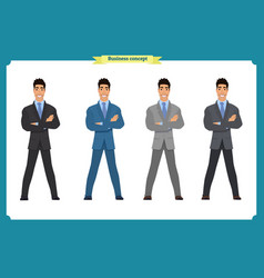 happy elegant businessman in suitstanding person vector image