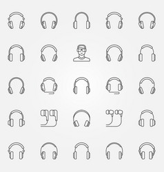 headphones icons set earphones outline vector image