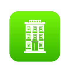 hotel building icon digital green vector image
