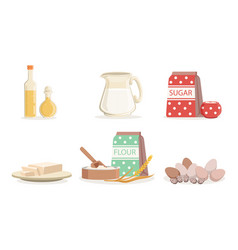 Ingredients for cooking pancakes or baking vector