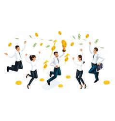 isometric businessmen jump and enjoy big money vector image