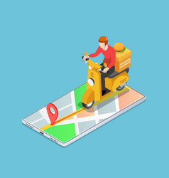 isometric delivery man ride motorcycle on the vector image
