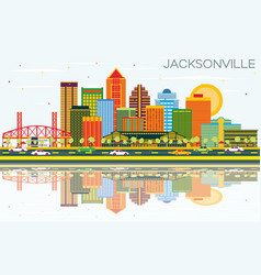 jacksonville florida skyline with color buildings vector image