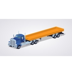 Low poly blue heavy truck and trailer with the vector image