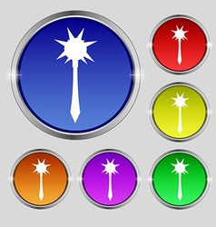 Mace icon sign Round symbol on bright colourful vector