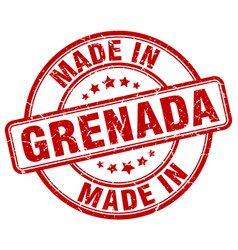 made in grenada red grunge round stamp vector image
