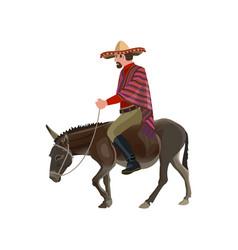 Man riding donkey vector