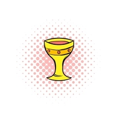 Medieval gold cup comics icon vector