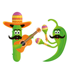 Mexican cactus and chilli with hats and guitars vector