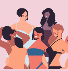 Mix race women different height figure type and vector