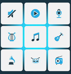 multimedia icons colored set with lyre barrel vector image
