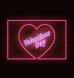 neon heart with frame and text valentines day vect vector image