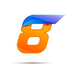 Number eight 8 logo orange and blue color with vector