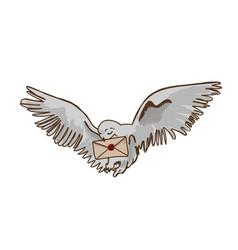 Owl postman white with lettermagic bird vector