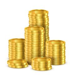 Pile golden coins or heap gold money vector