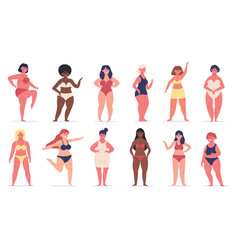 plus size women multiracial curvy girls cute vector image