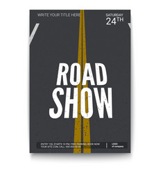 Poster design for fury road show isolated on vector