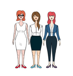Pretty business women with haistyle and elegant vector