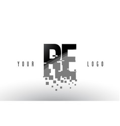 Re r e pixel letter logo with digital shattered vector