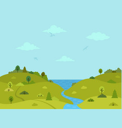Rural hilly landscape with sea and river vector