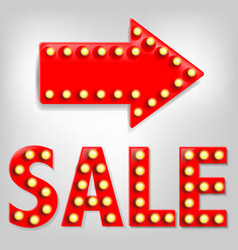 sale text with arrow vector image