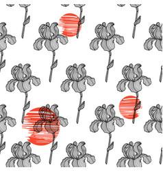 seamless pattern of hand drawn sketch iris vector image